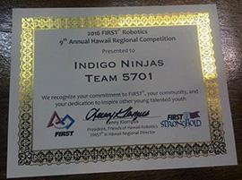 高校生ロボコンチーム「Indigo Ninjas」元代表 ハワイ大会の参加認定証