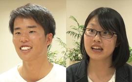 「トビタテ!留学JAPAN」の公文生 楠野さん(左)と山本さん(右)