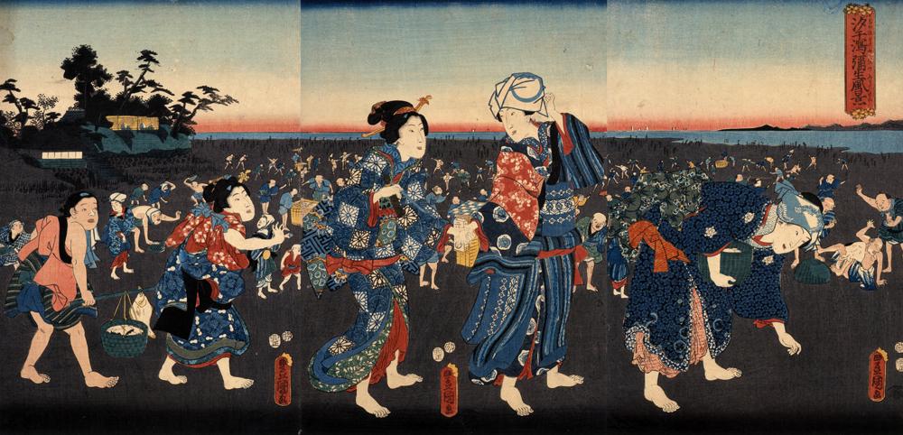 汐干潟弥生風景 三代 歌川 豊国 安政2年(1855)